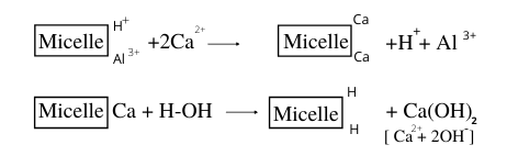 Removal of H+ and Al3+ ions by Ca2+, Mg2+, K+